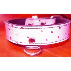 "1-1/4"" Wide Faux Ostrich Pink Collar"