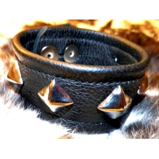 "1-1/4"" Wide Soft Leather Wrist Band With Chrome Ornaments"